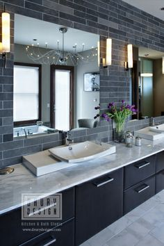 Totally love this one.  The sinks are a fortune, so I'd need to compromise, but I think I could attain the overall look.  Found the floor and wall tile online already.  I'm wondering, though, how the cabinets would look in a light grey.    Contemporary Bath by Drury Design Kitchen & Bath Studio, via Flickr