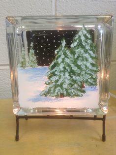 Winter scene on glass block