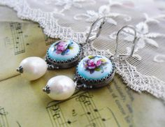 Love at the Russian Ballet,Vintage Blue Russian Rostov Finift Floral Enamel and Genuine Baroque Pearls Earrings by Hollywood Hillbilly by HollywoodHillbilly on Etsy