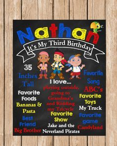 Jake and the Neverland Pirates Birthday Chalkboard by ChalkYourWay, $15.00