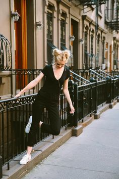 Barefoot Blonde Amber Fillerup in Free People V Neck and J Brand Jeans