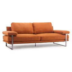 Add a pop of color to your home decor with this bright sofa. This modern sofa features a sleek brushed stainless steel finish and bright sunkist orange cushions, making it the perfect addition to any living room space that needs extra color.
