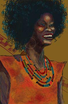 BLACK BEAUTY Printable Wall Art, Instant Digital Download, Funky Art, Edgy Art, Original Art, New Media Art, Portraiture, never2boldART Afro, New Media Art, Funky Art, Her Smile, Medium Art, Portrait, Decoration, Printable Wall Art, Lady