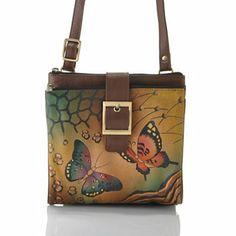 Anuschka Hand-Painted Leather Triple Compartment Travel Organizer Handbag