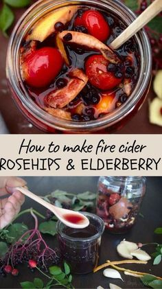 Fire cider is usually made of ingredients that are easily available in the kitchen such as ginger, onion, garlic or black pepper, apple cider vinegar and honey. It was primarily made to warm your up during cold winter months, boost your immunity and improve digestion. #firecider, #oxymel, #rosehips, #elderberry