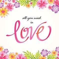 Con amor de flores letras - ilustración de arte vectorial
