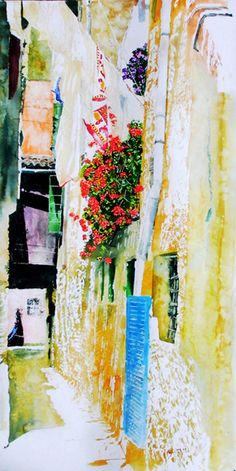 "sotoportego venice (8) 35"" x 16"" micheal zarowsky / watercolour on arches paper (private collection) ."