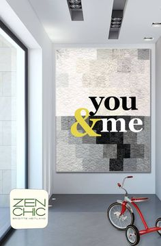 "This is a cool modern quilt using my new background fabrics PAPER & INK (Paper are the light ones, Ink the darks). The fabrics give you a gold textured background where you can display personalized words, like your name and the one of your significant one, or words like ""sew & quilt"""