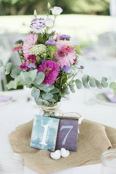 rustic #radiant orchid and mint wedding centerpieces