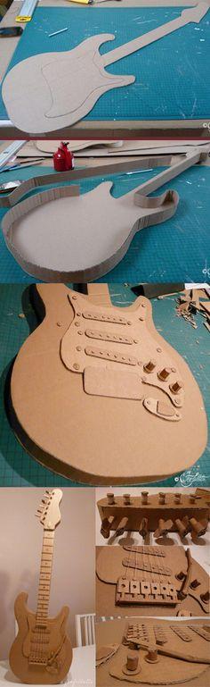 Différentes étapes de la construction d'une guitare électrique 100% carton... reste la peinture :) Steps of the construction of an electric guitar 100% cardboard ... still painting :) https://www.facebook.com/feefollette.home