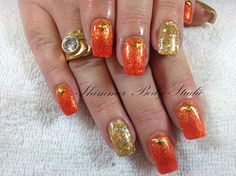 Photo: Gorgeous orange and gold tones for Amber.  Gel nails, glitter and studs, nail art by Shimmer Body Studio.