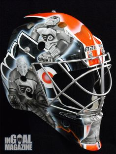 After tipping his mask to Edmonton Oilers legend Grant Fuhr last season, Danis signed with the Philadelphia Flyers in the offseason, giving painter Stephane Bergeron another chance to pay homage to a couple more goaltending greats. Hockey Rules, Flyers Hockey, Hockey Goalie, Hockey Teams, Ice Hockey, Philadelphia Flyers Logo, Hockey Party, Nhl Logos, Goalie Mask