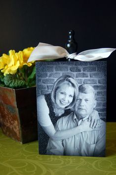Photo block tutorial - picture mounted on wood and then coated with texture cream