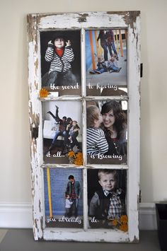 old window turned into a picture frame. cute. cute. cute.