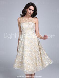 e480d4cde393   99.99  Γραμμή Α   Εφαρμοστό   Εμβαζέ Illusion Seckline Μέχρι το γόνατο  Δαντέλα Κοκτέιλ Πάρτι   Χοροεσπερίδα Φόρεμα με Χάντρες   Λουλούδι με TS  Couture®
