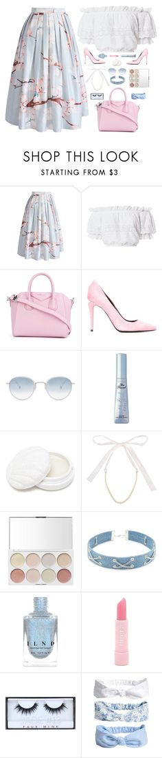 """""""Cherry Blossoms"""" by cocochaneljr ❤ liked on Polyvore featuring Chicwish, LoveShackFancy, Givenchy, Alexander Wang, Garrett Leight, Forever 21, Miu Miu and Huda Beauty"""