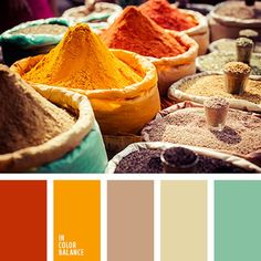 A warm palette of rich summer shades, which is based on a bright color of curry. Thanks to its hand bright orange hue palette has a very summer mood. Palettes Color, Colour Pallette, Colour Schemes, Color Patterns, Color Combos, Color Balance, Color Harmony, Palette Design, World Of Color