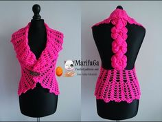 how to crochet vest bolero jacket with roses free pattern tutorial by marifu6a - YouTube