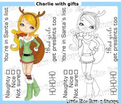 "Little Blue Button """"Charlie with Gifts"""" Clear Stamp Set"