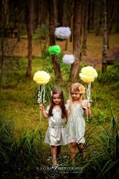 Tissue poms for flower girls