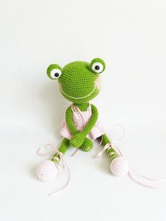 Funny knitted frog The knitted frog of their cotton Crocheted frog Green frog knitted Frog from cotton Frog in crochet dress Frog, knitted Crochet Frog, Crochet Animal Amigurumi, Easter Crochet, Crochet Animal Patterns, Stuffed Animal Patterns, Cute Crochet, Crochet For Kids, Crochet Toys, Stuffed Animals