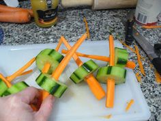"It's also more fun to eat your vegetables if you can play with them.  I actually got my kids to eat cucumbers because I told them they could fight with these ""swords"".  These would be great to put in your kids lunch next week for ""talk like a pirate day""."