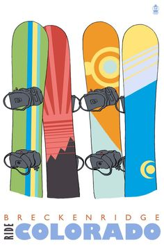 Print (Breckenridge, Colorado - Snowboards in Snow - Lantern Press Artwork)