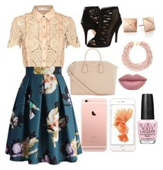 """""""Complete Calm n Girly in Pastel (Beige & Pink)"""" by cindyveronica on Polyvore featuring self-portrait, Chicwish, Nine West, Givenchy, Kenneth Jay Lane and OPI"""