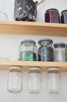 Effektiv förvaring med glasburkar - Diagnos:Kreativ Mason Jars, Water Bottle, Inspiration, Creative, Decorations, Biblical Inspiration, Water Flask, Mason Jar, Water Bottles