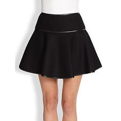 $297, Black Skater Skirt: RED Valentino Leather Trim Skater Skirt Black. Sold by Saks Fifth Avenue. Click for more info: https://lookastic.com/women/shop_items/293095/redirect