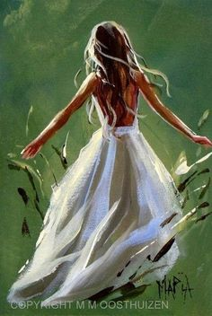 Girl in a white dress painting in the grass. 40 Easy Acrylic Canvas Painting Ideas for Beginners #canvaspaintingprojects