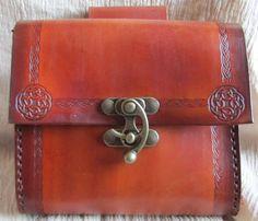 65.00 Medieval Belt Bag Celtic Cirlce Leather by EarthlyLeatherDesign