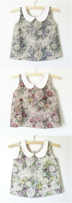 Girls Vintage Style Handmade Floral Linen Blouses | Dabishoo on Etsy Kids Outfits Girls, Girl Outfits, Girls Dresses, Toddler Fashion, Kids Fashion, Cute Little Girl Dresses, Frocks For Girls, Fashion Sewing, Kind Mode