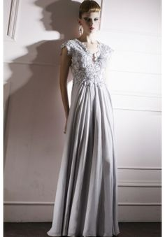 Chic Chiffon A-line V-neck Lace Appliques Draping Ruching Floor-length Prom evening  Dress d117a0f8f078