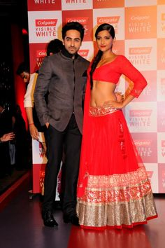 Sonam along with Ayushmann at the launch of Colgate Visible White via IndianWeddingSite.com