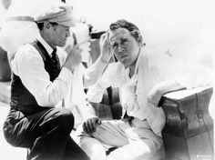 Charles Laughton getting a touch up on set of Mutiny on the Bounty, 1935, Frank Lloyd.