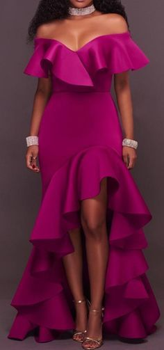 Fuchsia Falbala Slash Neck Maxi kjole for kvinner Sexy Dresses, Cute Dresses, Beautiful Dresses, Prom Dresses, Dress Vestidos, Gorgeous Dress, Dress Prom, African Fashion Dresses, African Dress