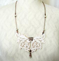 lace necklace LEONORA barely blush by tinaevarenee on Etsy, $39.00