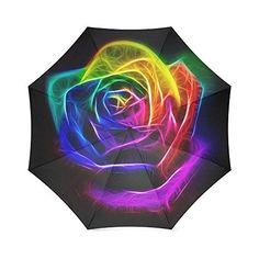 Beautiful Rainbow Rose Custom Foldable Rain Umbrella Wind Resistant Windproof Floding Travel Umbrella * For more information, visit image link. (Note:Amazon affiliate link)