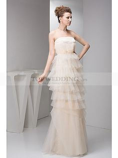 Floor Length Strapless Satin and Organza Ruffled Prom Dress