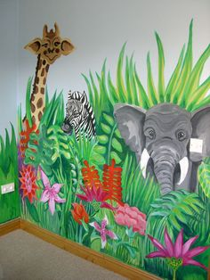 Jungle Scene and more murals to get ideas for painting children's bedrooms. My grandma could so do this when ever we actually have a house instead of an apartment