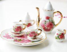 1/6 Scale Dollhouse Miniature Porcelain Coffee Tea Set For Barbie Blythe 8PCS #Minidreamworld