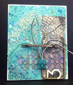8x10 board, wax, metal, plastic, wire.  By Cheryl Jacobson