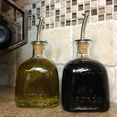 Homemade balsamic vinegar and extra virgin olive oil cruets out of PATRON bottles!