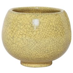 "Henri Simmen Art Deco Small Stoneware Coupe with yellow craquele glaze. Signed: ""H Sim"" incised."