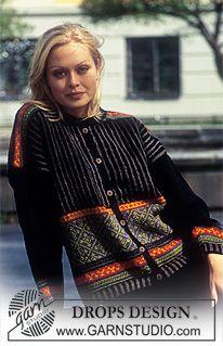 DROPS jakke med nordisk loddrette striper. Kort eller lang modell ~ DROPS Design