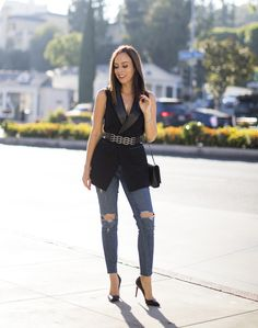ec8b517599 How to Wear a Leather Vest from Day to Night. New Years Eve OutfitsNight ...