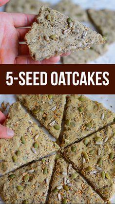 Oatcakes Recipe no flour gluten free and healthy with added seeds oatcakes healthyrecipe noflour glutenfree Gluten Free Baking, Gluten Free Recipes, Vegetarian Recipes, Healthy Recipes, No Flour Recipes, Easy Recipes, Corn Recipes, Vegan Snacks, Healthy Snacks