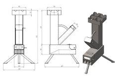Camping rocket stove made from sheet metal. Rocket Heater, Rocket Stoves, Stove Heater, Stove Oven, Metal Projects, Welding Projects, Rocket Stove Design, Diy Rocket, Barbecue Design