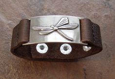 Dragonfly leather bracelet, adjustable on Etsy, $24.95